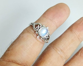 925 Sterling Silver Ring Rainbow Moonstone Ring 18x13 mm Oval Cabochon Daily Wear Birthstone FineGemstone Bella Ring jewelry Christmas Gift