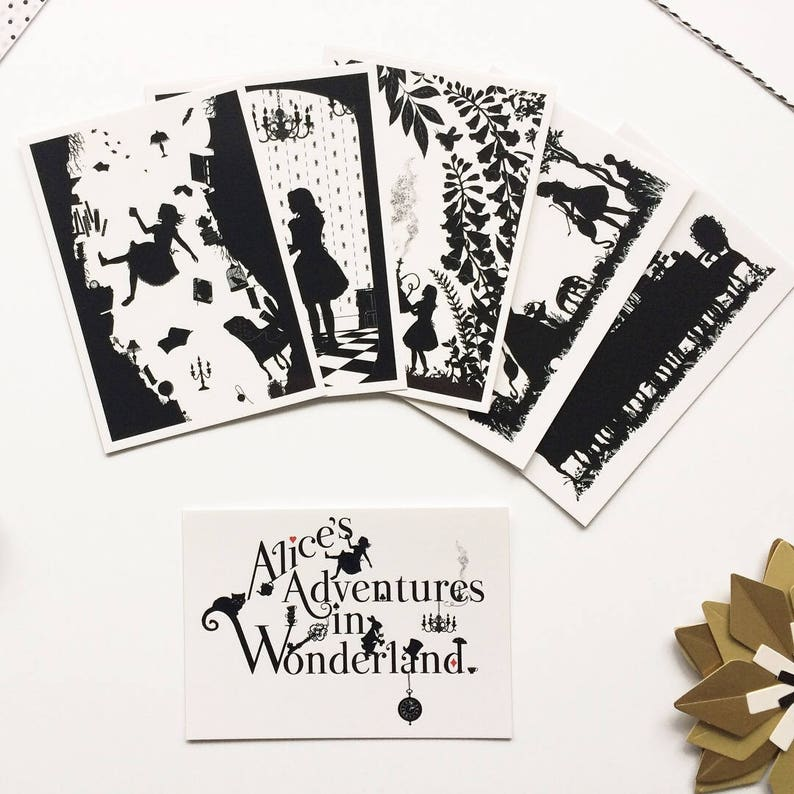 Black And White Postcard From >> Set Of 5 Postcards From Lewis Carroll Alice In Wonderland Etsy