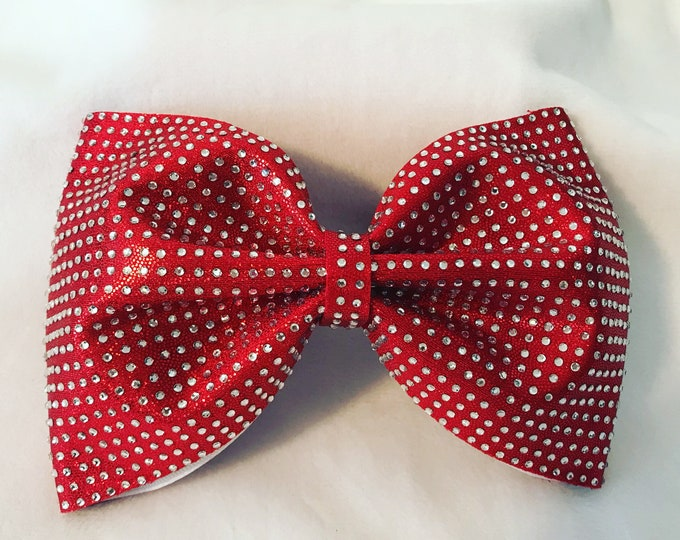 Red Holographic Rhinestone Tailless Bow