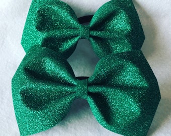 Green Glitter Tailless Bow