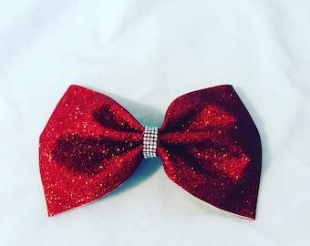Alyssa's Dazzling Red Glitter Bow
