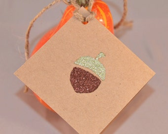 Thanksgiving Placecards with Glittered Acorns, Fall Placecards, Fall Gift Tags, Set of 6 Tags, Thanksgiving Table Decor, Kraft Paper Tags