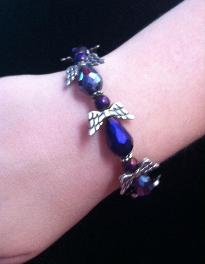 Large Wing Angel Beaded Sparkle Bracelet Blue Crystal Purple Ready to Ship Free Shipping