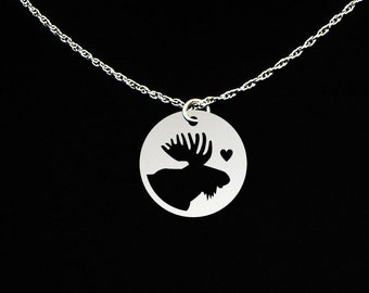 Moose Necklace - Moose Jewelry - Moose Gift