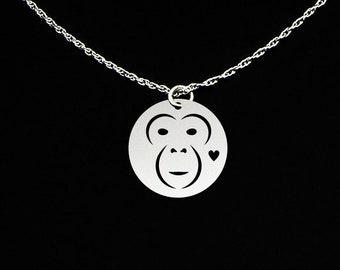 Chimpanzee Necklace - Chimpanzee Jewelry - Chimpanzee Gift