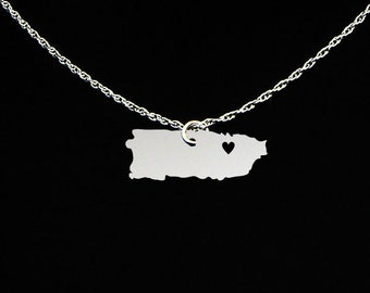 Puerto Rico Necklace - Puerto Rico Jewelry - Puerto Rico Gift - Sterling Silver