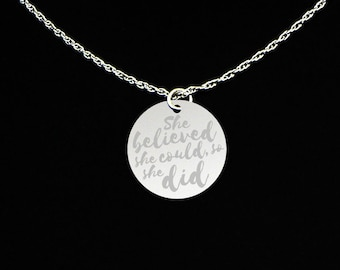 She Believed She Could So She Did Necklace - Gift for Niece - Inspiration Jewelry