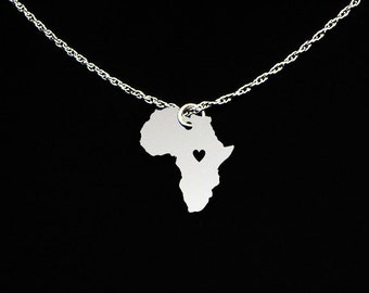 Africa Necklace - Africa Gift - Africa Jewelry - Sterling Silver