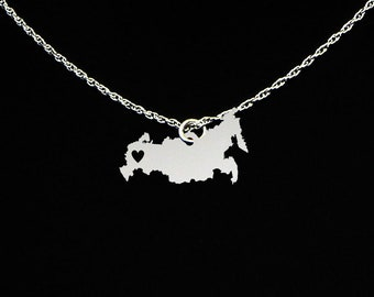 Russia Necklace - Russia Jewelry - Russia Gift - Sterling Silver