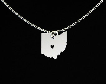 Ohio Necklace - State Necklace - State Jewelry - Ohio State - Ohio Gift - Ohio Jewelry
