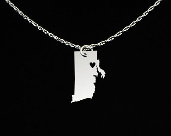 Rhode Island necklace personalized engraveable sterling silver i love Rhode Island state necklace with heart  Hometown jewelry Gift