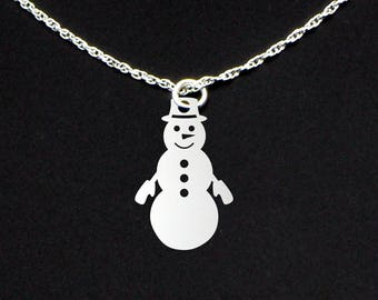 Snowman Necklace - Snowman Jewelry - Snowman Gift