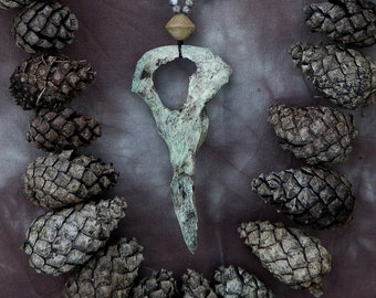 Swamp collection. Badger pelvic bone necklace, witchcraft, pagan, forest punk, occult