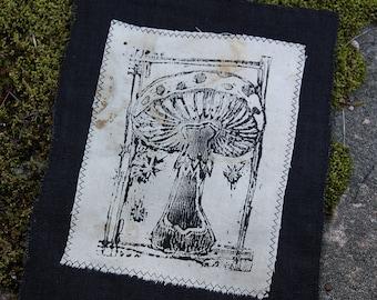 Patch with mushroom, linocut, witchcraft, forestpunk, shamanpunk