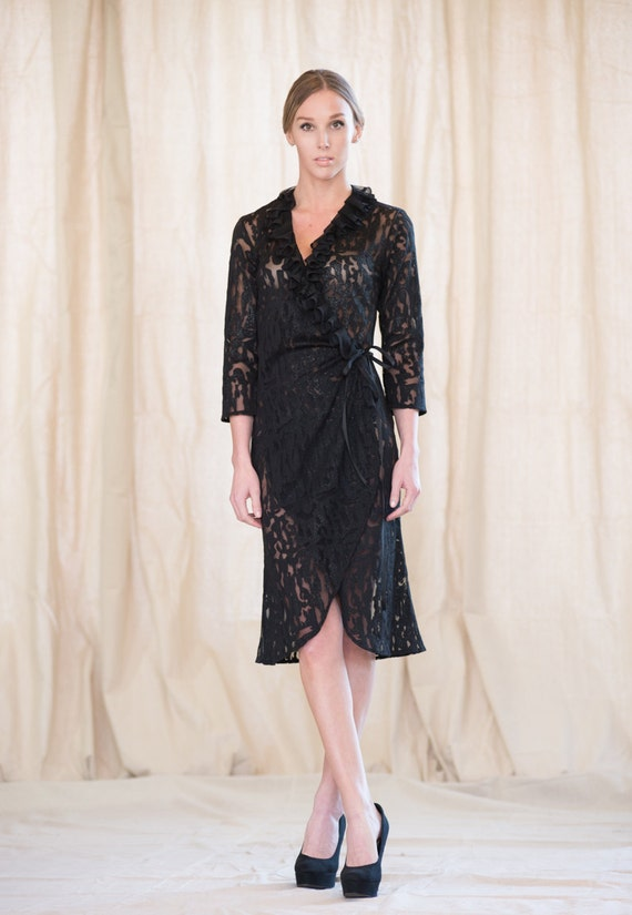 Women's Wrap Dress with ruffled collar, by Rebecca Bruce