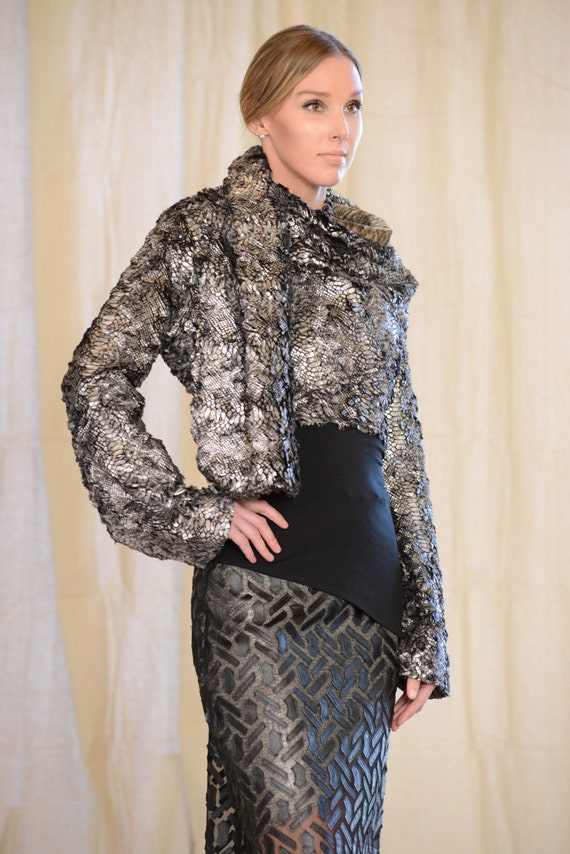 by Rebecca Bruce, Cozy Fur Wrap Bolero Jacket, J-203 Silver snake