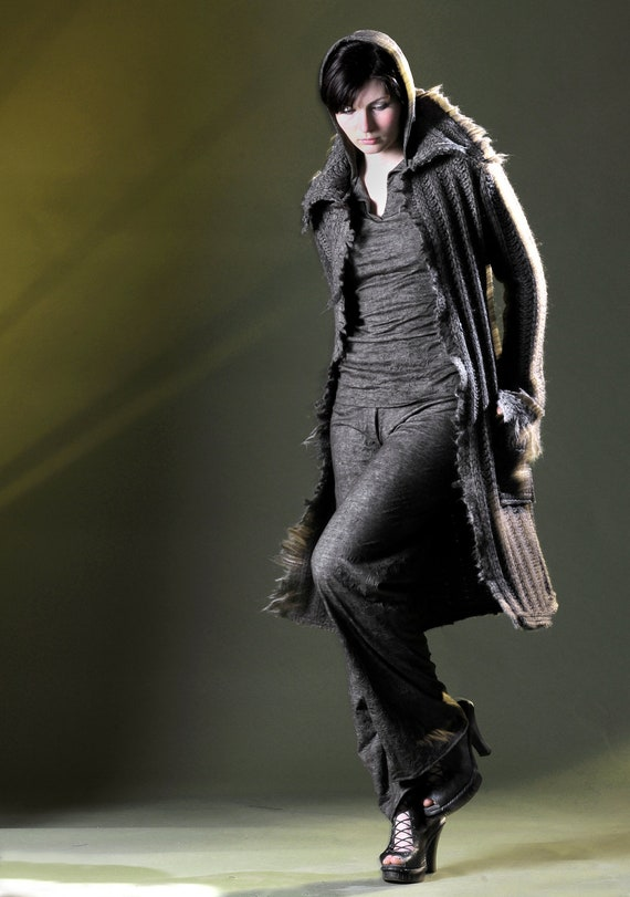 Wool Car coat with featherlike felted edge in earth J-233