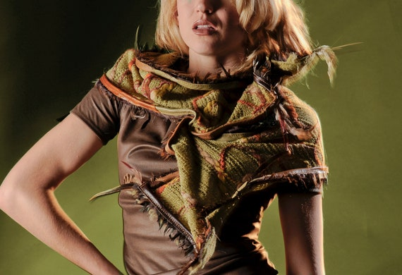 """Wrap Scarf in Soft Wool, leather and faux fur from Rebecca Bruce """"Sculpting Collection"""""""