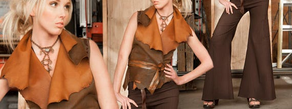 Leather Vest with Wide collar