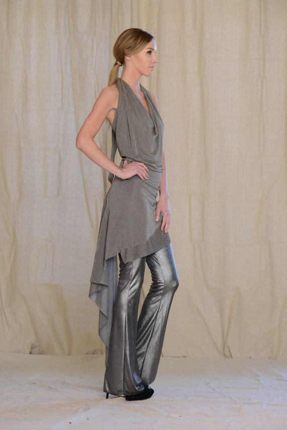 Women's Halter Dress, by Rebecca Bruce, Style D-139 Bronze Metalic