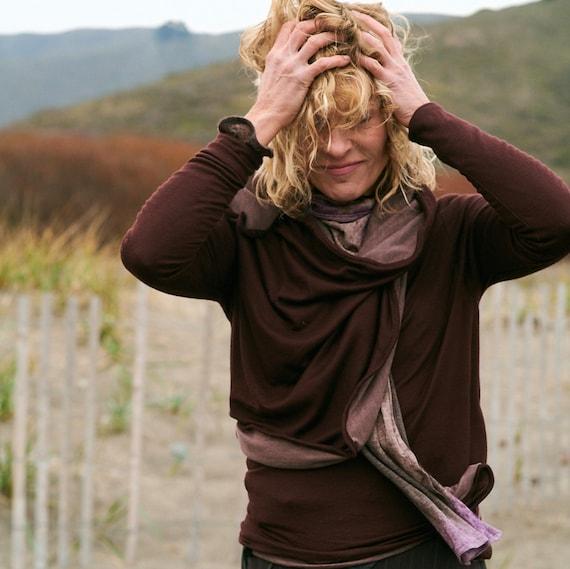 Women's sweater wrap jacket, chianti sculptural wired, design yourself versatile looks