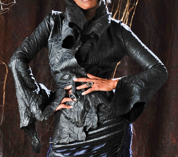 Women's Black Leather Jacket, Vintage Crinkle Leather, Rebecca Bruce Erin Style