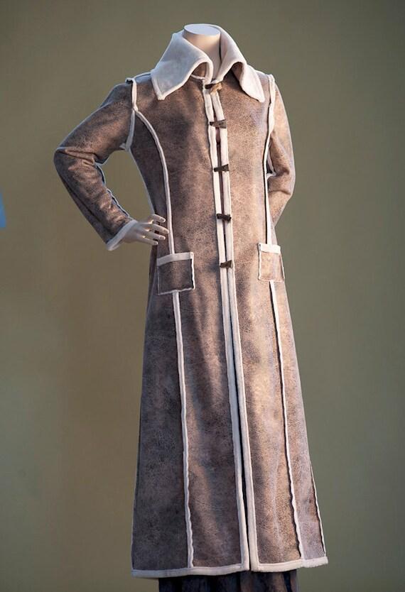 Shearling Coat Full Length, Women's Stylish Cozy Warm Coat, Napoleon Style