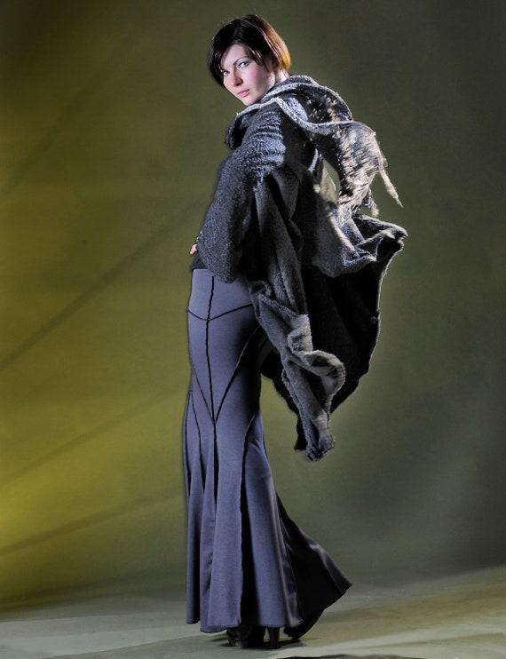 Women's  Big Wrap Jacket  in Wool Flannel-J-238, Scarf, Drape, Sculptural Wired ,  Design Yourself Versatile Looks