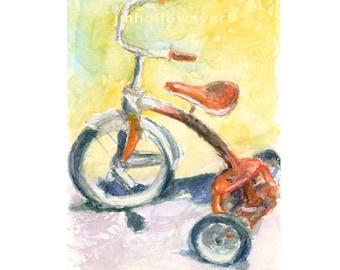 Watercolor Tricycle, Tricycle Print, Red Trike Print, Red Trike Art, Kids Room Art