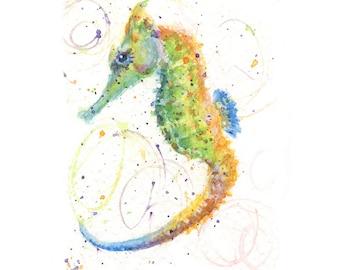 Watercolor Seahorse, Seahorse Print, Colorful Seahorse