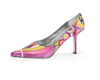 Watercolor Pucci Shoe, Pucci Shoe Print, Pucci Shoe, Retro Shoe Print