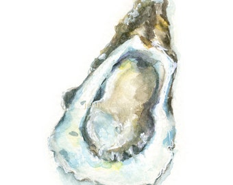 Watercolor Oyster, Oyster Print, Oyster Art, Oyster Shell Art, Shell Print