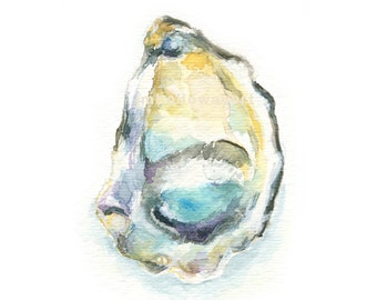 Art, Oyster, Oyster Shell Print, Watercolor, Oyster Print, Shell Print