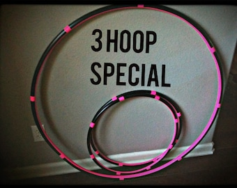 SALE 10 percent off - Lot Of 3 Hula HOOPS - 1 Collapsible or Push Button Body Hoop & 2 Mini Arm Hoops - best seller