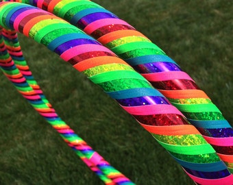 Love and Light Dance & Exercise Hula Hoop COLLAPSIBLE Polypro, HDPE, beginner, advanced, or weighted  - rainbow, roygbiv, glitter sequin