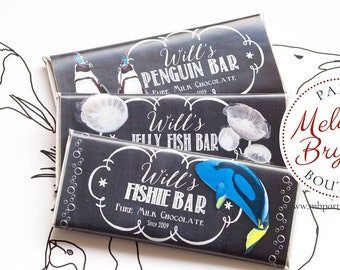 Aquarium Printed Candy Bar Wrappers Blue Tang Fish Birthday Penguin Theme Decor Kids Party Favors Treat Bag Boys Girls Personalized 1st Bday