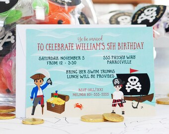 Pirate Birthday Party Invitation Press Printed Custom Text and Images to Represent All Children Exclusive Design for Ocean Themed Event