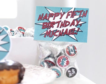 Super Hero Party Stickers .75 inch Kids Birthday Decor Candy Favor Kits Treat Toppers and Bags with Labels Baby First Birthday Decorations
