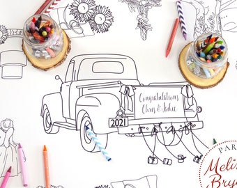 Rustic Country Themed Wedding Kids Table Decor Coloring Page Table Runner Quiet Childrens Activities Personalized Cowboy Theme Craft