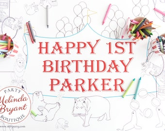 Circus Themed Party Coloring Page Table Runner Personalized Decor First Birthday Custom Decorations Animal Tiger Elephant Craft Activity