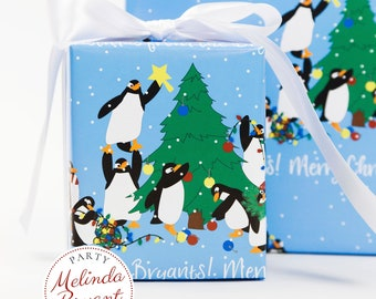 Personalized Christmas Gift Wrap with Penguins Hanging Tree Ornaments and Lights / Childrens Holiday Decorations Family Gifts or Babys First