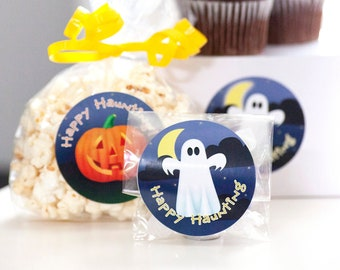 Halloween Stickers 2.5 inch Trick or Treat Labels Party Decor Fall Decorations Fun Jack o Lantern Ghost Black Cat Happy Haunting Stationery