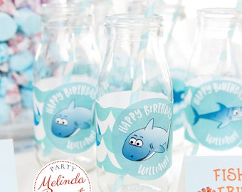 Personalized Shark Themed 2.5 inch Stickers Under the Sea Birthday Decor Printed Custom Labels for Summer Pool Party or Aquarium Event