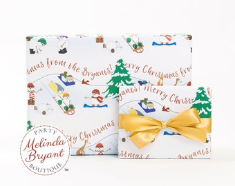 Personalized Christmas Gift Wrap Snowmen and Woodland Animals Sledding Party / Childrens Holiday Decorations / Family Gifts or Babys First