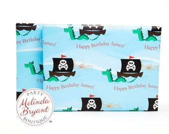 Personalized Pirates and Sea Monsters Themed Gift Wrap with Custom Text / aquarium birthday party sea serpent wrapping paper