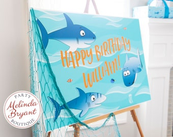 Personalized Shark Birthday Party Poster 2x3 Feet for Ocean Themed Events Bright Colors and High Resolution For Indoor or Outdoor Use
