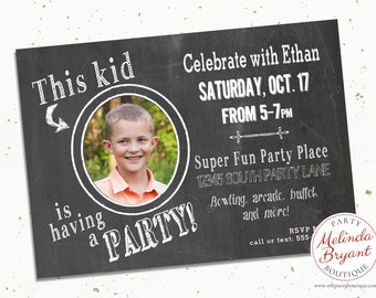 Chalkboard Boys Birthday Party Printable Invitation Custom Invite Photo Sleepover Game Night Teen Tween Personalized Card