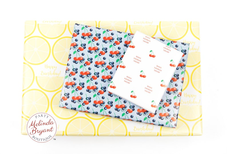 Lemon Themed Wrapping Paper with Personalized Text  Farmers Market Lemonade Stand Party Decor Fruit Stand Birthday Custom Gift Wrap
