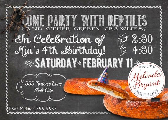 Reptile Birthday Invitation Snake Party Printable Invite Lizard Themed Invites Personalized Boys Invitations Custom Girls