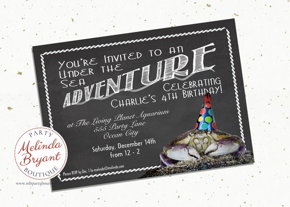 Aquarium Birthday Invitation Printable Beach Party Invites Crab Themed Kids Custom Invitations Chalkboard First Quirky